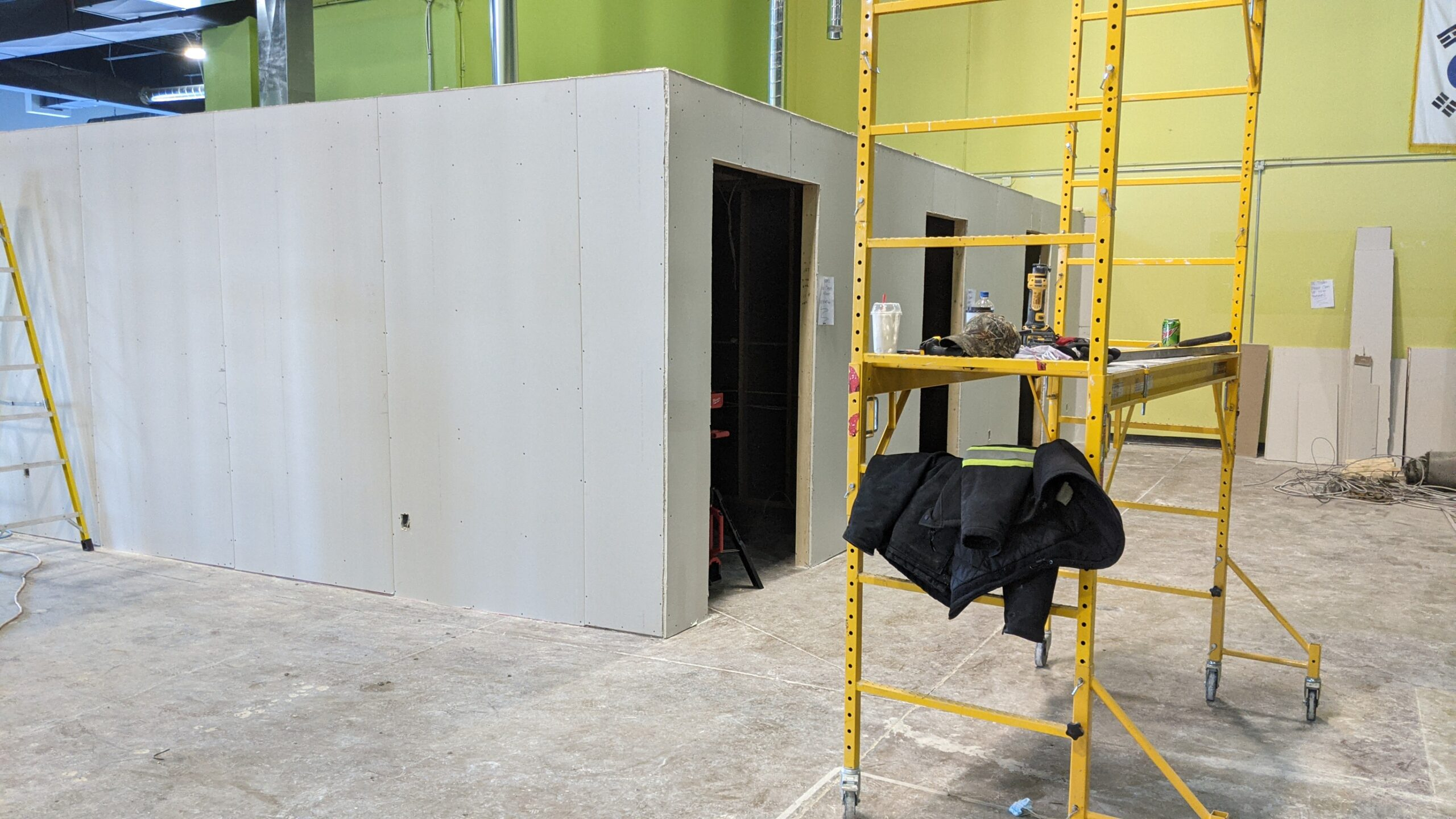 Construction of treatment rooms at physiotherapy clinic in Barrie Ontario Canada